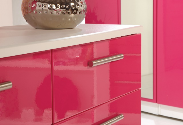 High Gloss Pink Bedroom Furniture.