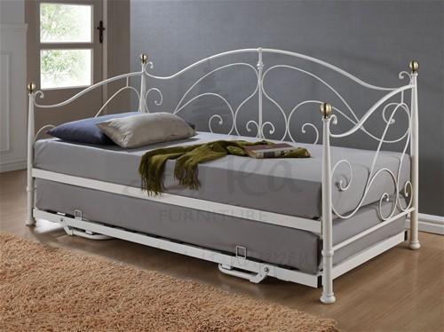 Milano 3ft Day Bed Guest Bed Cream Brass Birlea