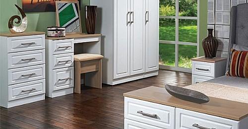Kent Bedroom Range (White Ash with Stirling Oak Finish Tops) - READY ...