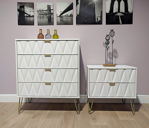 Diamond Bedroom Furniture In White With White Or White With Light Grey