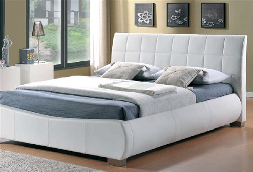 Dorado Bed Frame White Faux Leather Limelight Beds