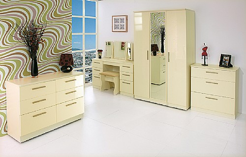 Knightsbridge Cream Gloss Bedroom Furniture, Cream Bedroom Furniture