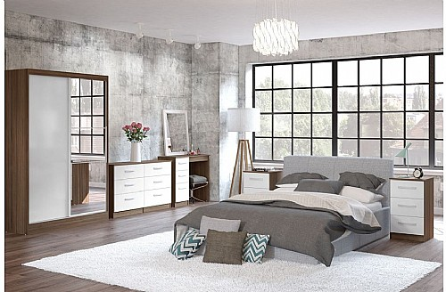 White High Gloss/Walnut) Bedroom Furniture Range - Birlea ...