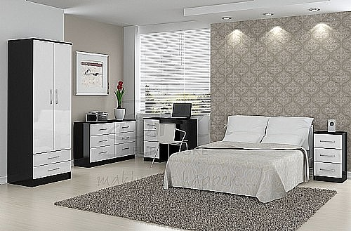 black and white bedroom furniture. lynx (black with gloss white) bedroom furniture range - birlea ltd black and white r