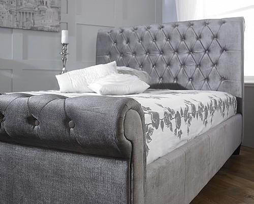 Orbit Fabric Bed Silver Velvet