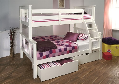 Pavo High Three Sleeper Bunk Bed White Limelight Beds