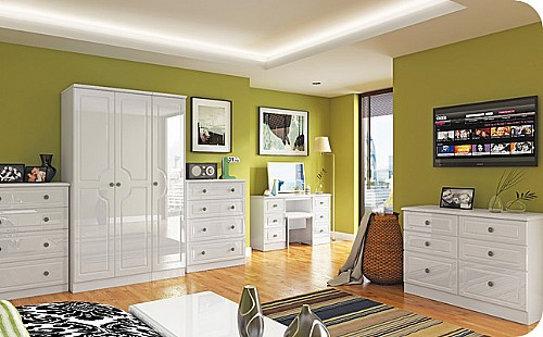 Pembroke White Gloss Bedroom Furniture, White Gloss Bedroom Furniture Range